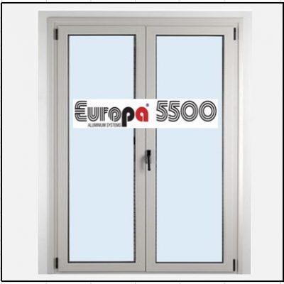 Ενεργειακό κούφωμα Αλουμίνιο Ανοιγόμενο Δίφυλλο Τζάμι Europa 5500 Thermo