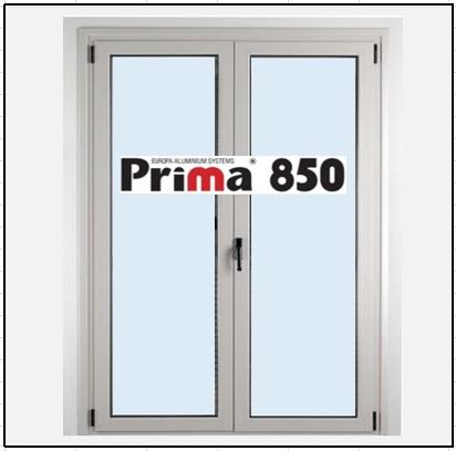 Κούφωμα Δίφυλλο Ανοιγόμενο Τζάμι Αλουμινίου Prima 850
