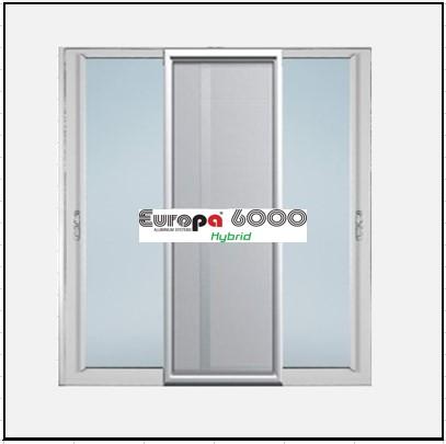 Ενεργειακά κουφώματα αλουμινίου Δίφυλλο Επάλληλο Σήτα Europa 6000 Thermo