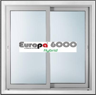 Ενεργειακό κούφωμα αλουμινίου Δίφυλλο Επάλληλο Europa 6000 Thermo