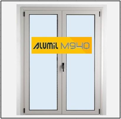 Κούφωμα Αλουμινίου Ανοιγόμενο Δίφυλλο Τζάμι Alumil 940