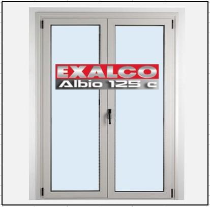 Ενεργειακό Κούφωμα Αλουμινίου Ανοιγόμενο Δίφυλλο Τζάμι Exalco Albio 125 Thermo