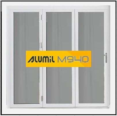Κούφωμα Αλουμινίου Ανοιγόμενο Τρίφυλλο Τζάμι Alumil 940