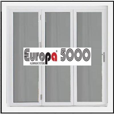 Κούφωμα Αλουμινίου Ανοιγόμενο Τρίφυλλο Τζάμι Europa 5000