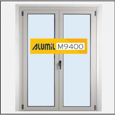 Κούφωμα Παράθυρο Δίφυλλο Ανοιγόμενο Τζάμι Αλουμινίου Alumil 9400