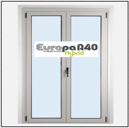 Ενεργειακό Παράθυρο Δίφυλλο Ανοιγόμενο Τζάμι Αλουμινίου Europa A40 Thermo