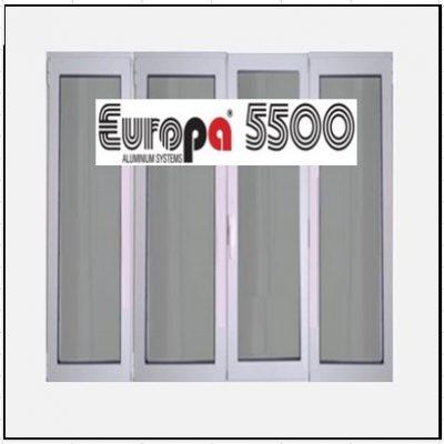 Ενεργειακό κούφωμα Τετράφυλλο Ανοιγόμενο Τζάμι Αλουμινίου Europa 5500 Thermo