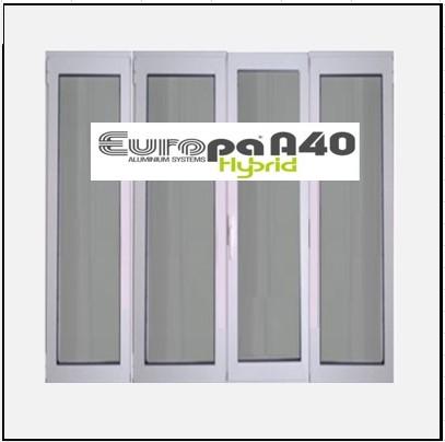 Ενεργειακό κούφωμα Τετράφυλλο Ανοιγόμενο Τζάμι Αλουμινίου Europa A40 Thermo