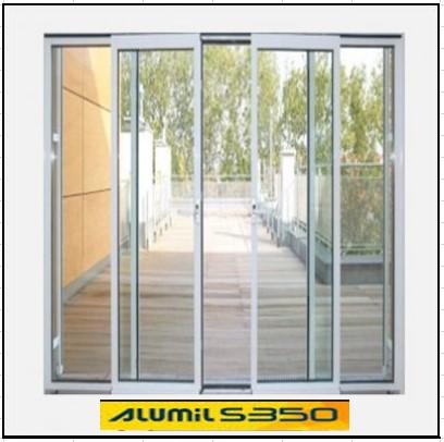 Ενεργειακά κουφώματα αλουμινίου Τετράφυλλο Επάλληλο Alumil 350 Thermo