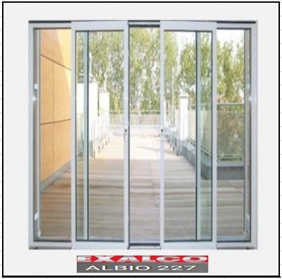 Ενεργειακά κουφώματα αλουμινίου Τετράφυλλο Επάλληλο Exalco Albio 227 Thermo
