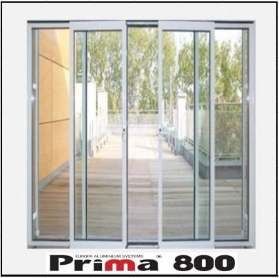Κουφώματα αλουμινίου Τετράφυλλο Επάλληλο Prima 800