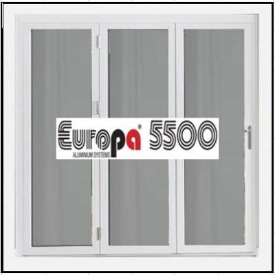 Ενεργειακό κούφωμα Τρίφυλλο Ανοιγόμενο Τζάμι Αλουμινίου Europa 5500 Thermo