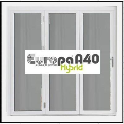 Ενεργειακό κούφωμα Τρίφυλλο Ανοιγόμενο Τζάμι Αλουμινίου Europa A40 Thermo