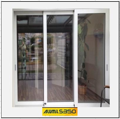 Ενεργειακά κουφώματα αλουμινίου Τρίφυλλο Επάλληλο Alumil 350 Thermo