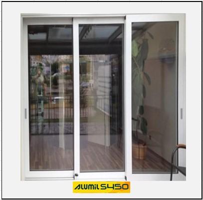 Ενεργειακά κουφώματα αλουμινίου Τρίφυλλο Επάλληλο Alumil 450 Thermo