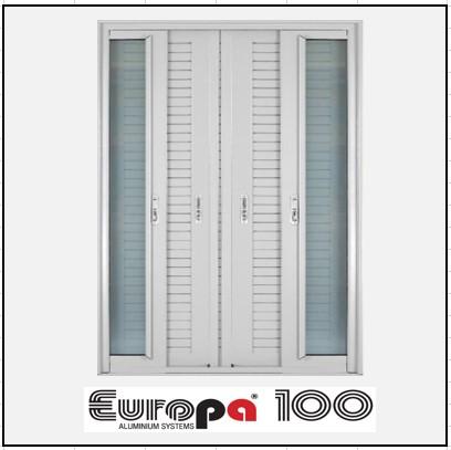 Κουφώματα αλουμινίου Δίφυλλο Χωνευτό Τζάμι Πατζούρι Europa 100