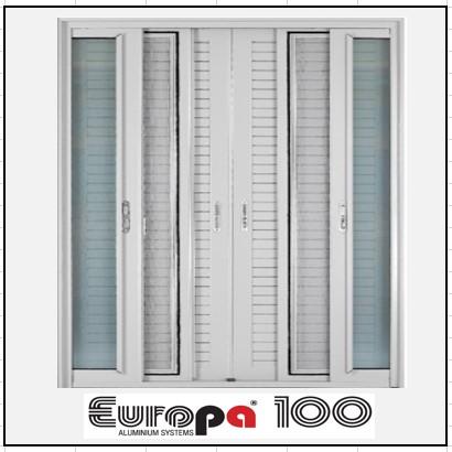 Κουφώματα αλουμινίου Δίφυλλο Χωνευτό Τζάμι Σήτα Πατζούρι Europa 100