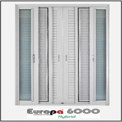 Ενεργειακά κουφώματα Δίφυλλο Χωνευτό Τζάμι Σήτα Πατζούρι Europa 6000 Thermo