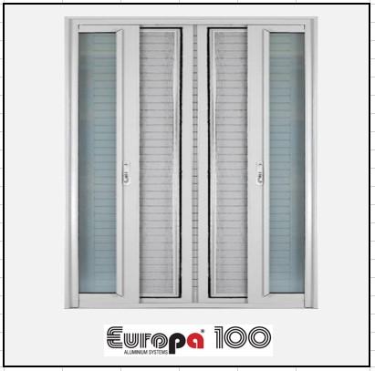 Κουφώματα αλουμινίου Δίφυλλο Χωνευτό Τζάμι Σήτα Europa 100