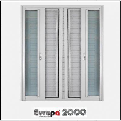 Κουφώματα αλουμινίου Δίφυλλο Χωνευτό Τζάμι Σήτα Europa 2000