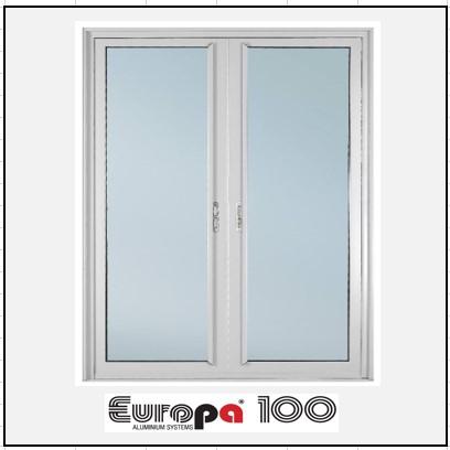 Κουφώματα αλουμινίου Δίφυλλο Χωνευτό Τζάμι Europa 100