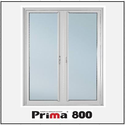 Κουφώματα αλουμινίου Δίφυλλο Χωνευτό Τζάμι Prima 800