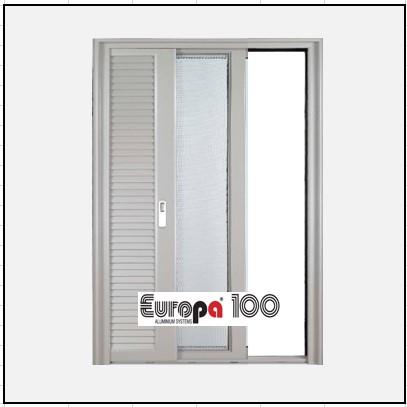 Κουφώματα αλουμινίου Μονόφυλλο Χωνευτό Τζάμι Πατζούρι Europa 100