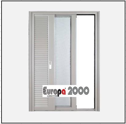 Κουφώματα αλουμινίου Μονόφυλλο Χωνευτό Τζάμι Πατζούρι Europa 2000
