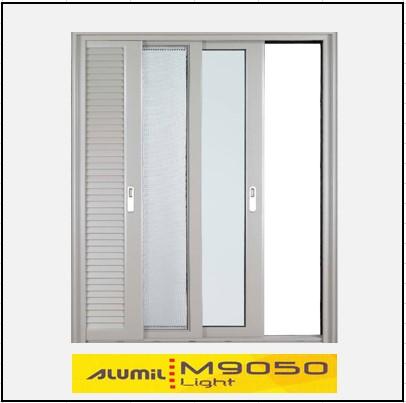 Κουφώματα αλουμινίου Μονόφυλλο Χωνευτό Τζάμι Σήτα Πατζούρι Alumil 9050 light