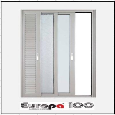 Κουφώματα αλουμινίου Μονόφυλλο Χωνευτό Τζάμι Σήτα Πατζούρι Europa 100