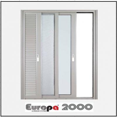Κουφώματα αλουμινίου Μονόφυλλο Χωνευτό Τζάμι Σήτα Πατζούρι Europa 2000
