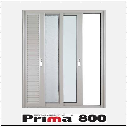 Κουφώματα αλουμινίου Μονόφυλλο Χωνευτό Τζάμι Σήτα Πατζούρι Prima 800