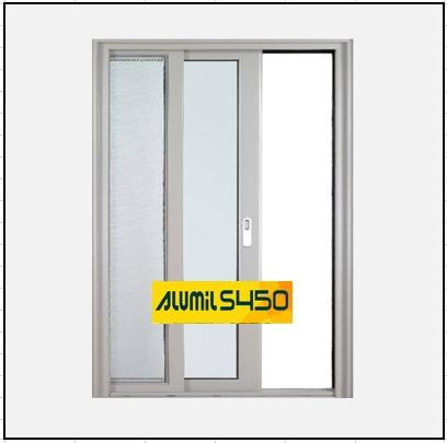 Κουφώματα αλουμινίου Μονόφυλλο Χωνευτό Τζάμι Σήτα Alumil 450 Thermo