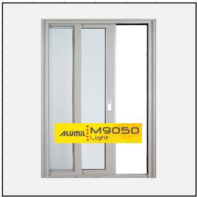Κουφώματα αλουμινίου Μονόφυλλο Χωνευτό Τζάμι Σήτα Alumil 9050 light