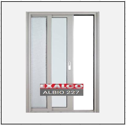 Ενεργειακά κουφώματα αλουμινίου Μονόφυλλο Χωνευτό Τζάμι Σήτα Exalco 227 Thermo