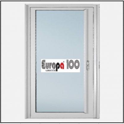 Κουφώματα αλουμινίου Μονόφυλλο Χωνευτό Τζάμι Europa 100