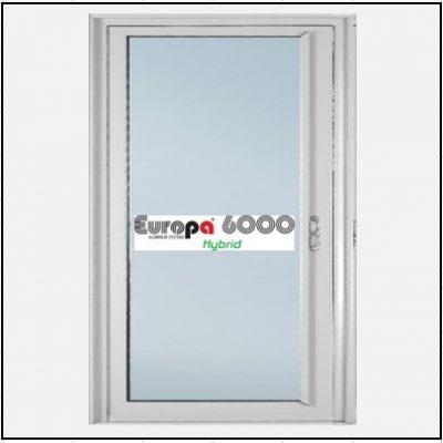 Ενεργειακά κουφώματα αλουμινίου Μονόφυλλο Χωνευτό Τζάμι Europa 6000 Thermo