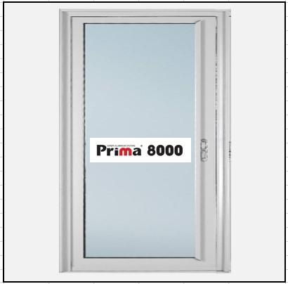 Ενεργειακά Κουφώματα αλουμινίου Μονόφυλλο Χωνευτό Τζάμι Prima 8000 Thermo