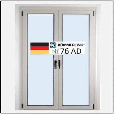 Συνθετικά κουφώματα PVC Δίφυλλο Ανοιγόμενο Τζάμι KÖMMERLING 76 AD τριπλό γυαλί