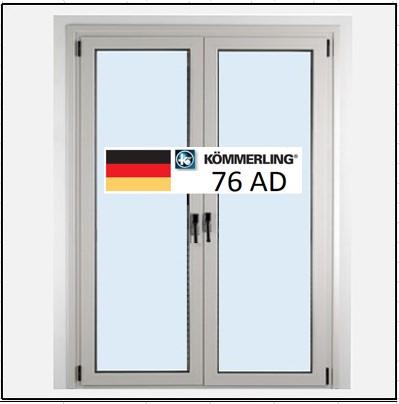 Συνθετικά κουφώματα PVC Δίφυλλο Ανοιγόμενο Τζάμι KÖMMERLING 76 AD
