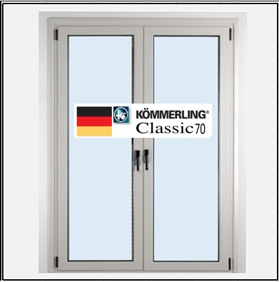 Συνθετικά κουφώματα PVC Δίφυλλο Ανοιγόμενο Τζάμι KOEMMERLING Classic 70