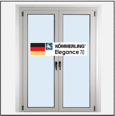 Συνθετικά κουφώματα PVC Δίφυλλο Ανοιγόμενο Τζάμι KOEMMERLING Elegance 70