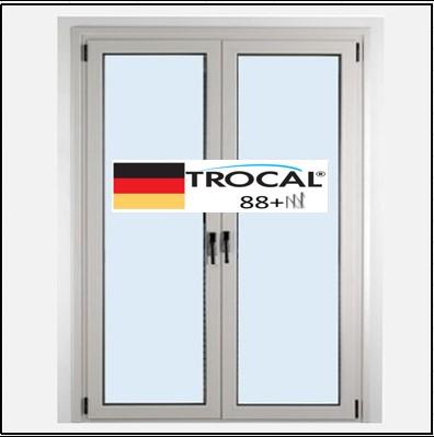 Συνθετικά κουφώματα PVC Δίφυλλο Ανοιγόμενο Τζάμι TROCAL 88+ τριπλό γυαλί