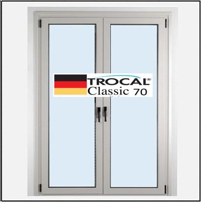 Συνθετικά κουφώματα PVC Δίφυλλο Ανοιγόμενο Τζάμι TROCAL Classic 70