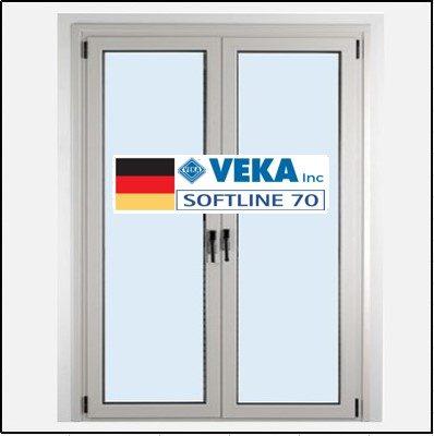 Συνθετικά κουφώματα PVC Δίφυλλο Ανοιγόμενο Τζάμι Veka Softline 70