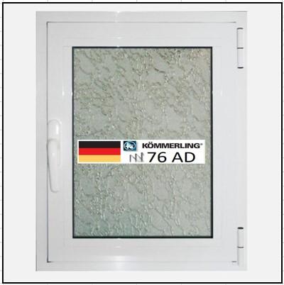 Συνθετικά κουφώματα PVC Μονόφυλλο Ανοιγόμενο Τζάμι KÖMMERLING 76 AD τριπλό γυαλί