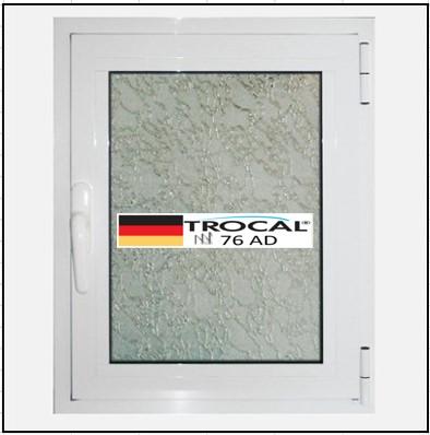 Συνθετικά κουφώματα PVC Μονόφυλλο Ανοιγόμενο Τζάμι TROCAL 76 AD τριπλό γυαλί
