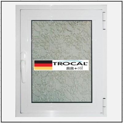 Συνθετικά κουφώματα PVC Μονόφυλλο Ανοιγόμενο Τζάμι TROCAL 88+ τριπλό γυαλί