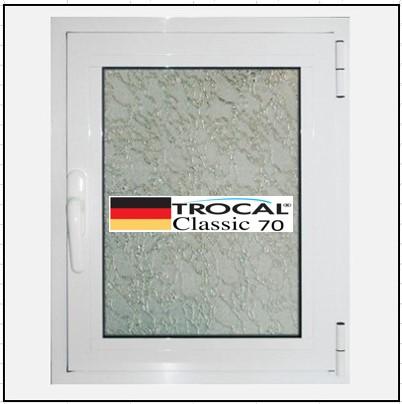 Συνθετικά κουφώματα PVC Μονόφυλλο Ανοιγόμενο Τζάμι TROCAL Classic 70