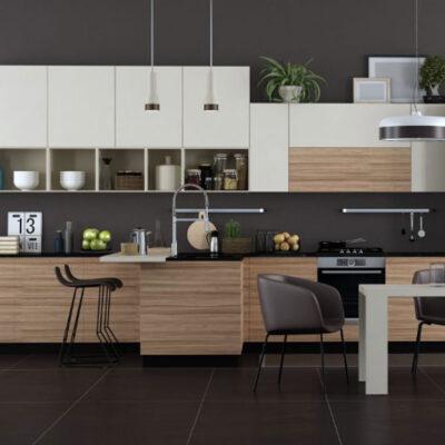 Σύνθεση Κουζίνας Laminate μαύρο και καφέ χρώμα